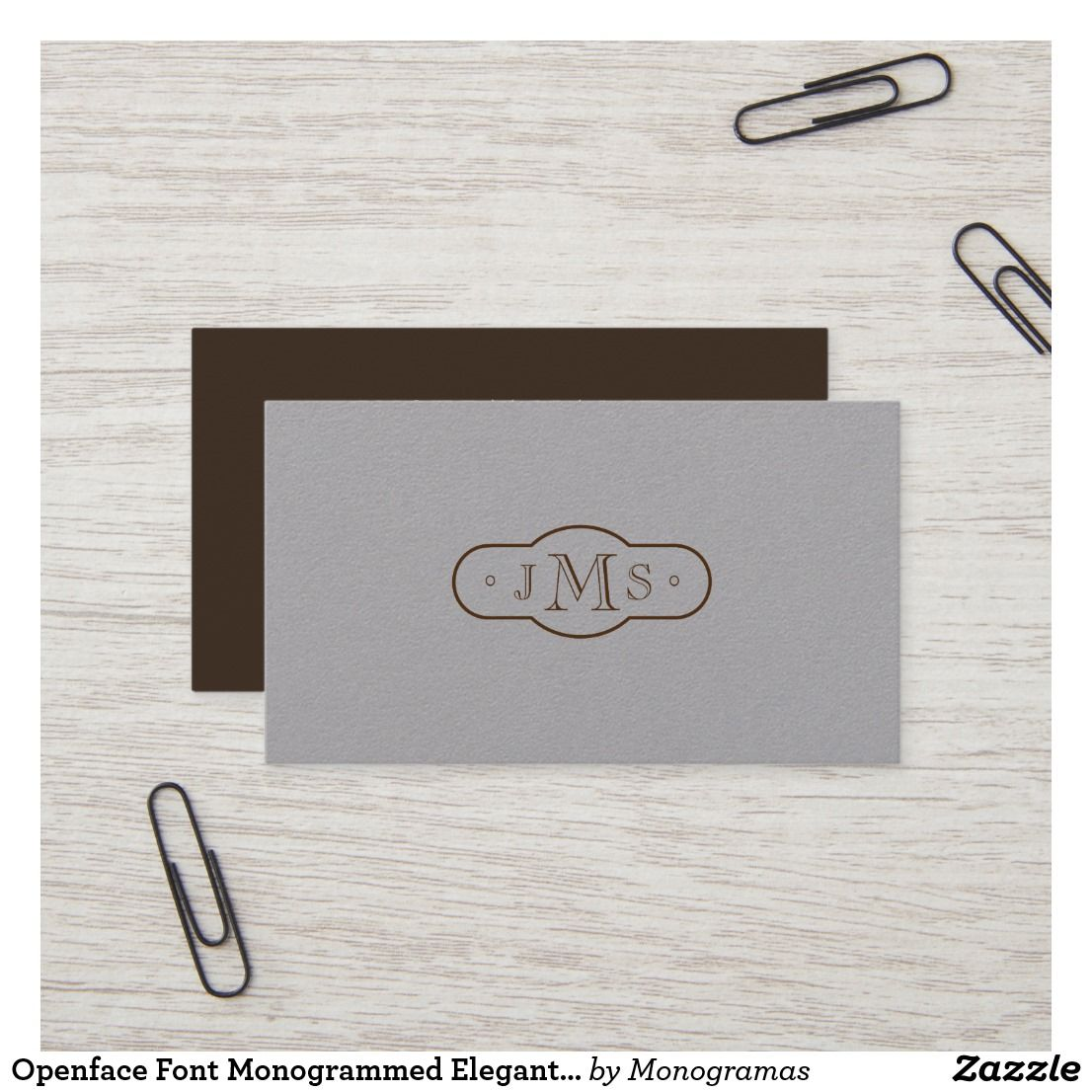 openface font monogrammed elegant retro business card