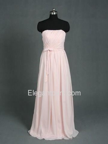 Pink Draped Strapless Floor-length Chiffon Long Bridesmaid Dress (105bg)