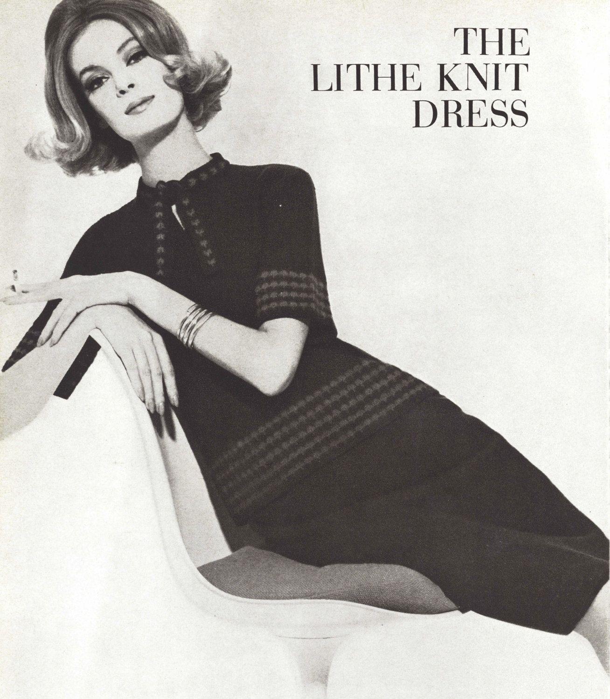 Lithe Dress • 1960s Knitting Knit Sweaterdress Sweater Top Skirt ...