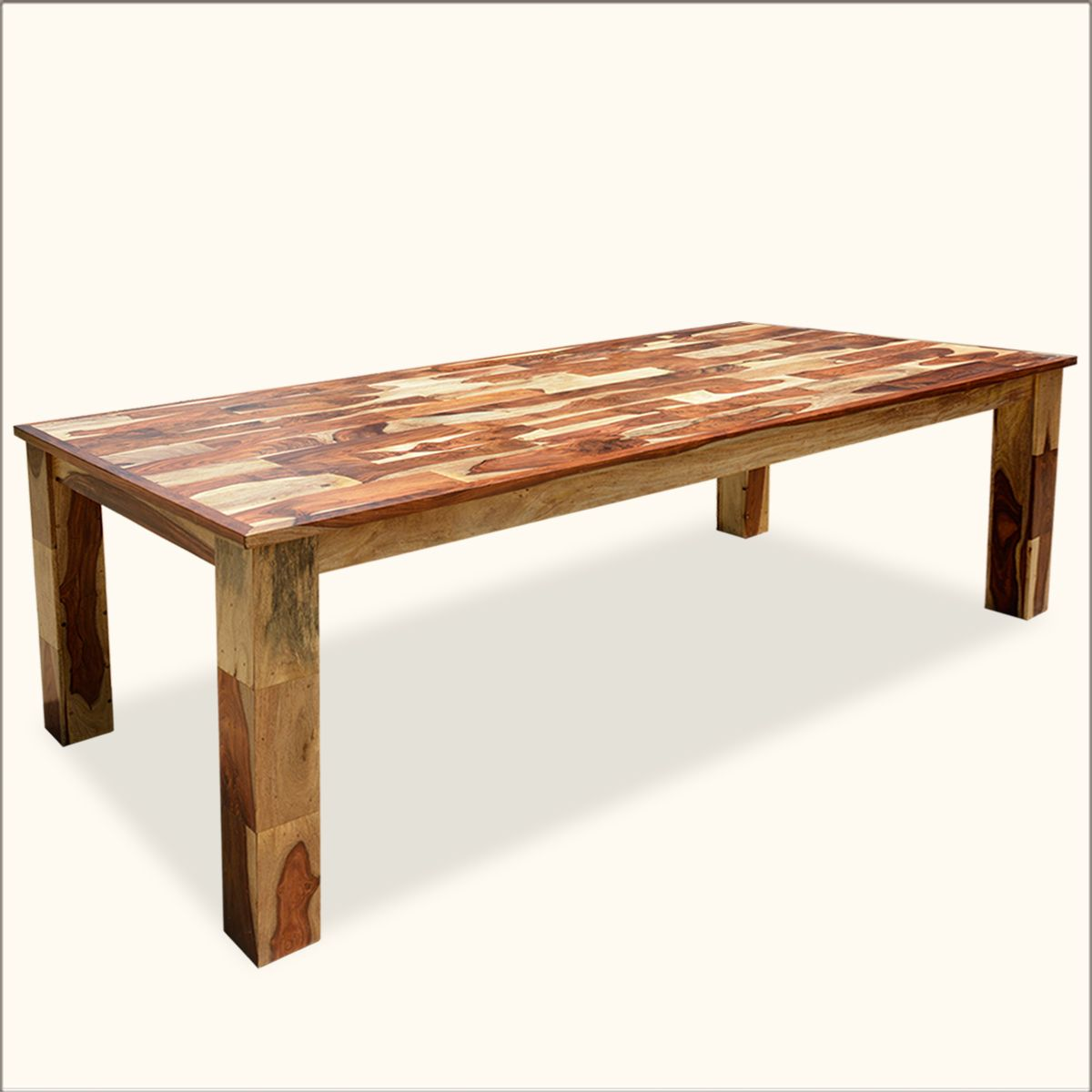Great Contemporary Wooden Tile Large Rectangular Solid Wood Dining Table