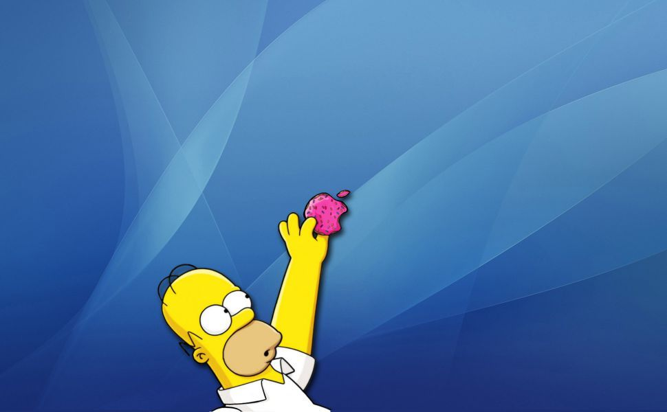 Homer Stealing Donut Apple Logo Hd Wallpaper Homer Simpson T