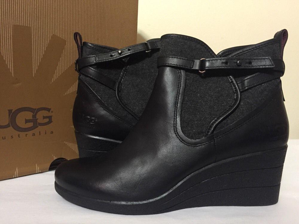 UGG Australia W Emalie 1005286 Women's Black Leather Wedge Ankle Boots Size  9 M #UGGAustralia