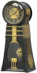 Secession Table Clock Dark Patinated Gilt Brass Case With Brass Overlays Movement With Glass Crystal Window Art Deco Clock Vintage Clock Beautiful Clock