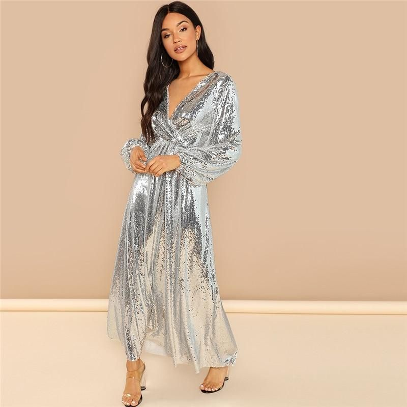 407e180b4f2 Silver Bishop Sleeve Wrap Front Sequin V Neck Fit and Flare Long Sleeve  Dress