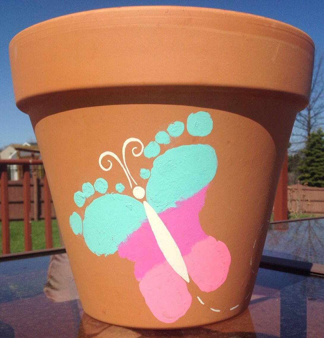Diy Mothers Day Gifts From Baby Kids Butterfly Footprint Flower Pot Craft Babies And