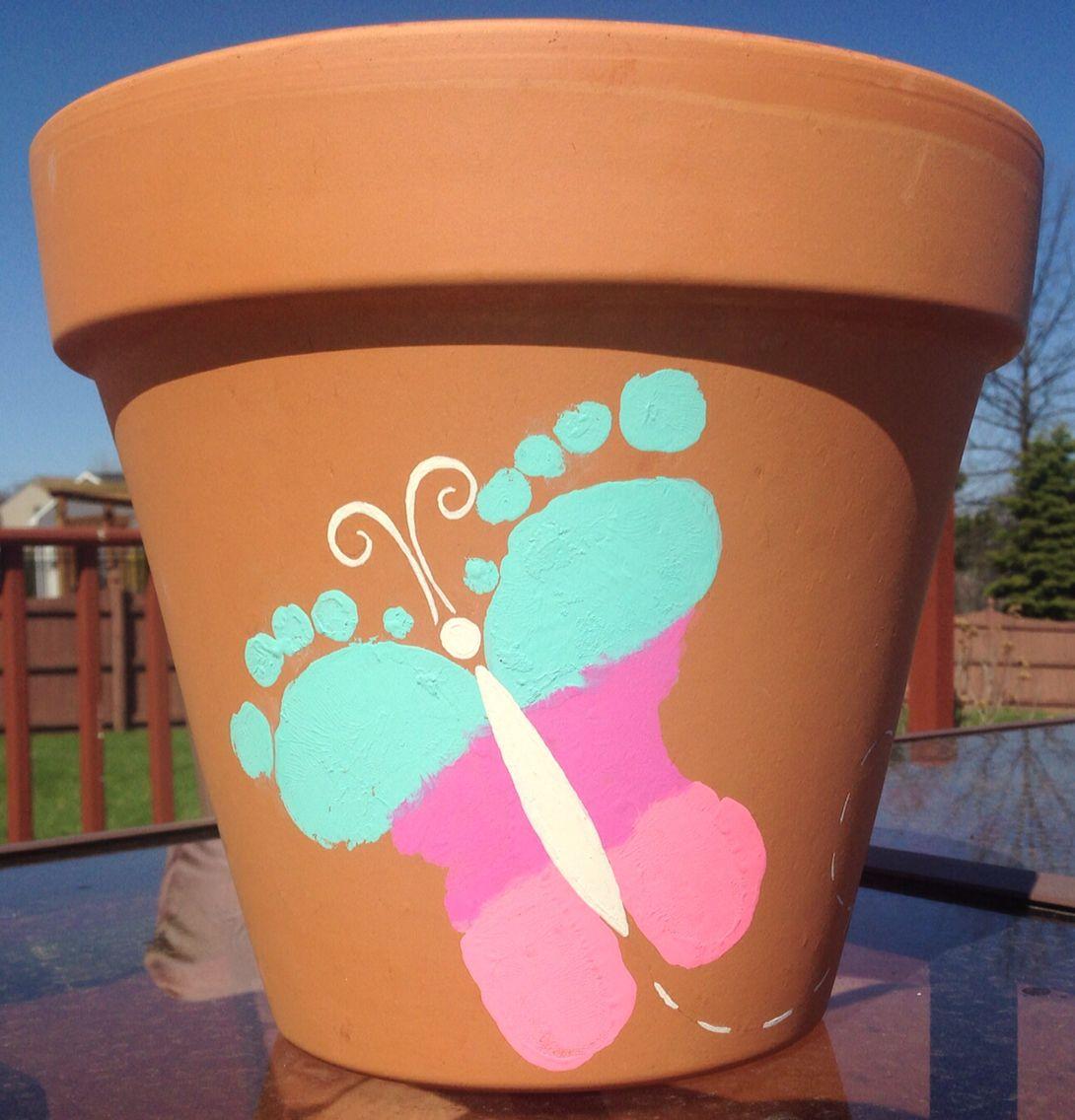 Awesome Kids Butterfly Footprint Flower Pot Craft Nice Look