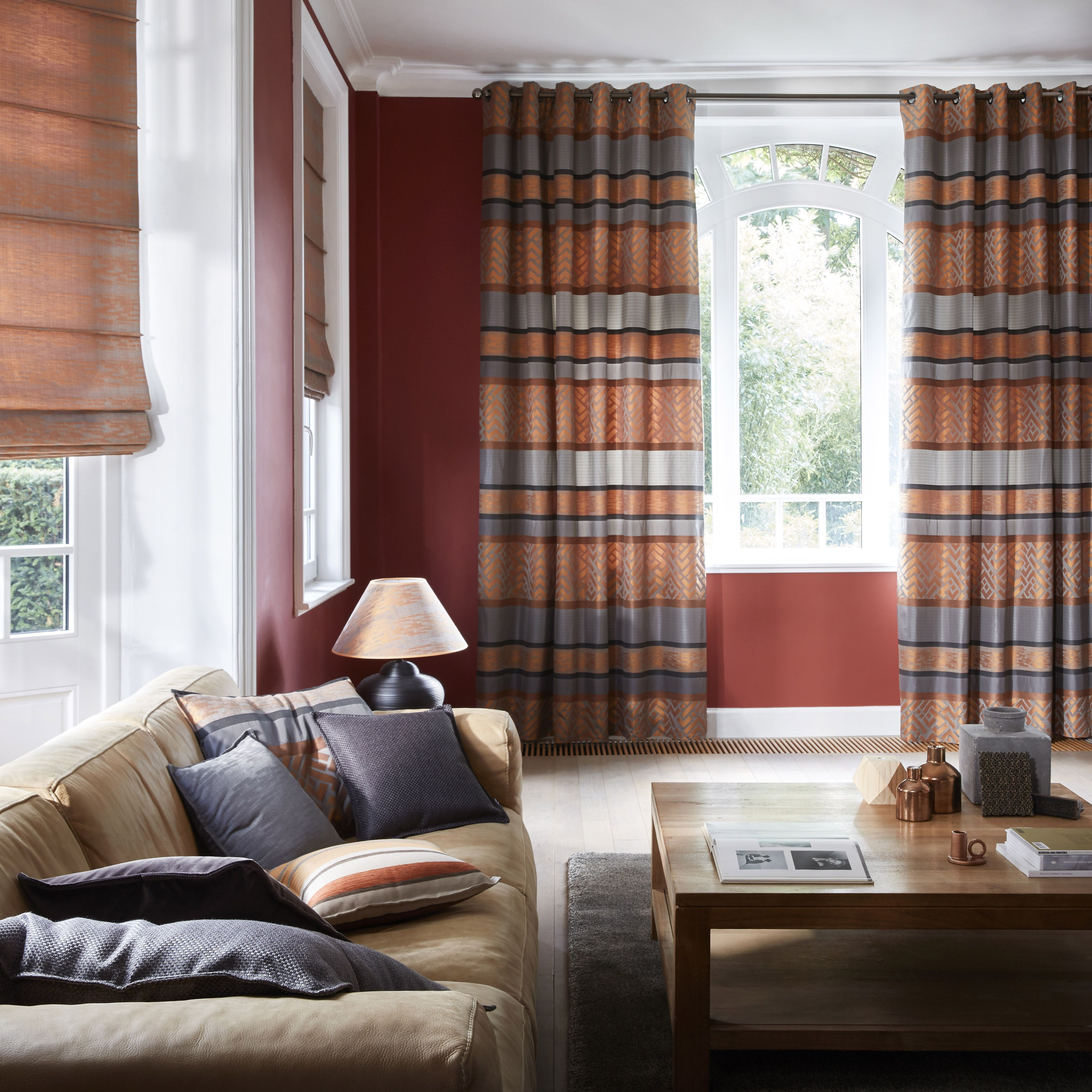 Contemporary Curtains, Living Room Contemporary, Modern Living Rooms, Orange Grey,