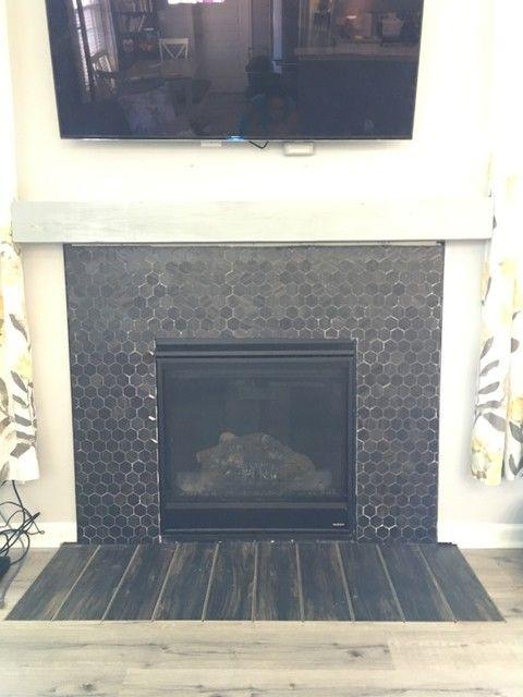 Porcelain Mosaic Fireplace Tile, Charcoal Slate Fireplace Hearth Tile