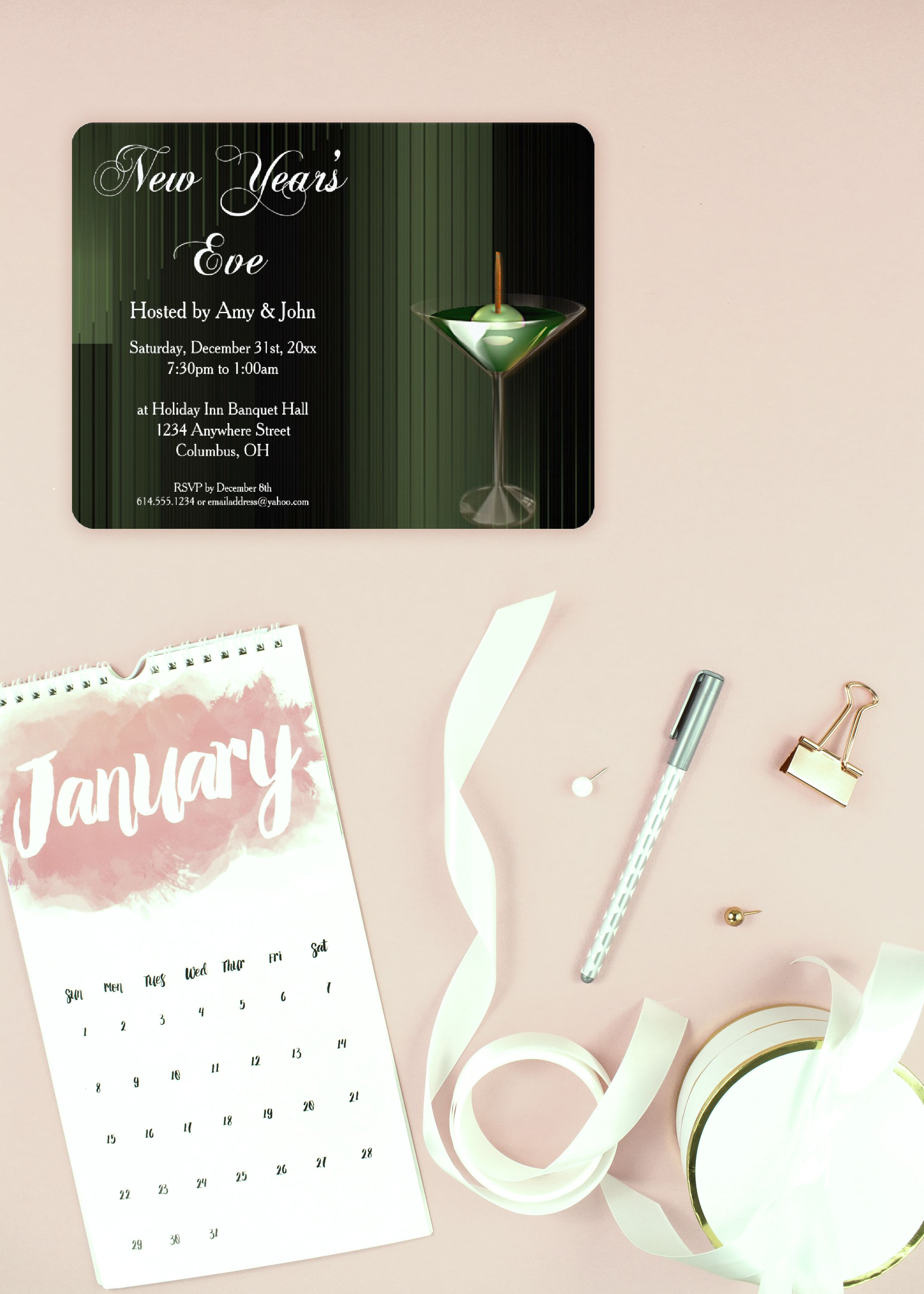 green cocktail new years eve party invitation