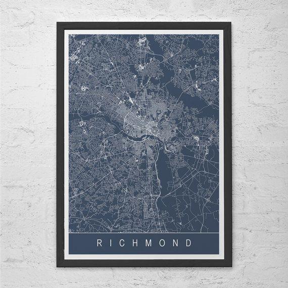 richmond map print - richmond virginia v.a. map art - high quality ...