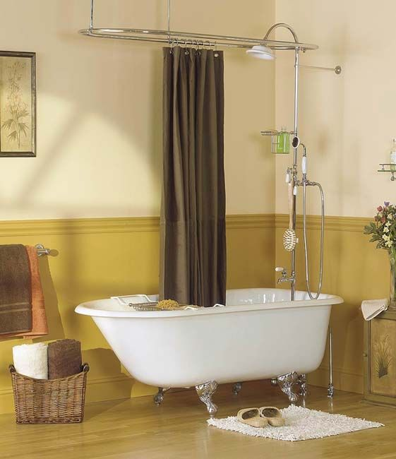 Clawfoot tub and shower combo google search bathrooms shower tub clawfoot tub shower for Small bathroom with clawfoot tub design