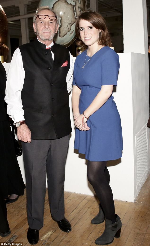 Princess Eugenie attends the Faberge Big Egg Hunt Countdown Cocktail in NYC 28 Jan 2014. Pictured here with her is Duchess Camilla's brother Mark Shand