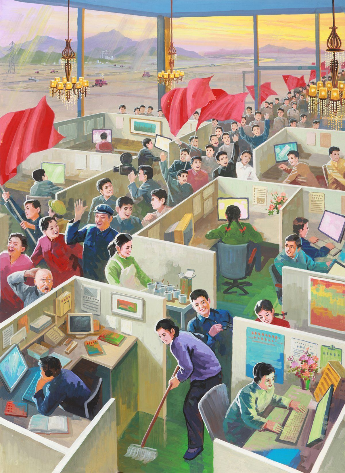 North Korean Propaganda Artists Painted These Incredible Pictures Of China As A Socialist Utopia OFFICE CULTURE FOR PROSPERITY