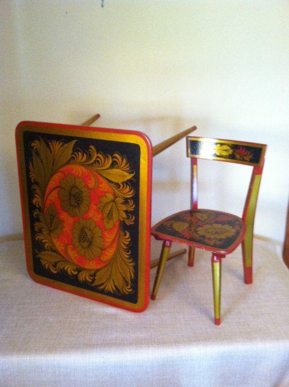 Childs KHOKLOMA RUSSIAN TABLE Chair wOOD Children Kids Folk Art Laquer Mid Century Furniture Russian Paper Mache Handpainted Tribal Boho