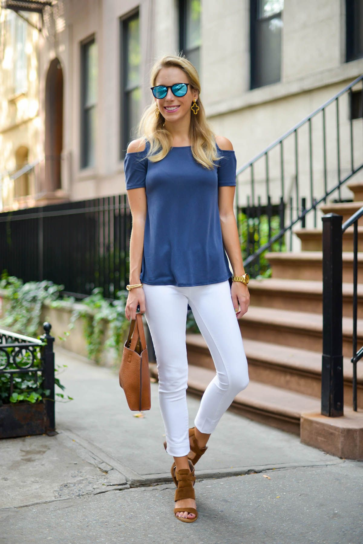 9f7f661a72e485 Outfit Inspiration  Blue Cold Shoulder Top   White Jeans via  katiesbliss