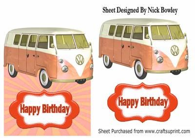 orange split screen campervan over the edge card on Craftsuprint - Add To Basket!