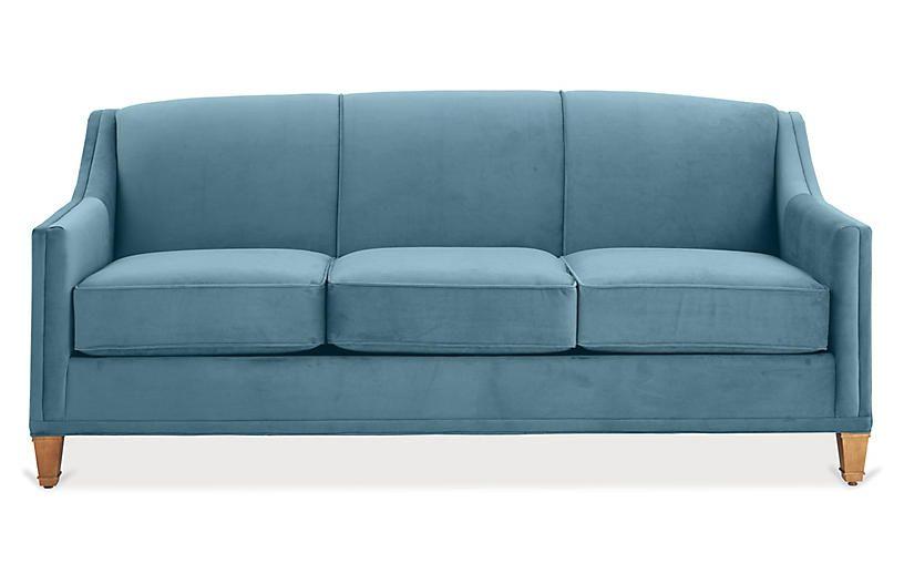 Erin Sleeper Sofa Colonial Blue Crypton Sofa Queen Size
