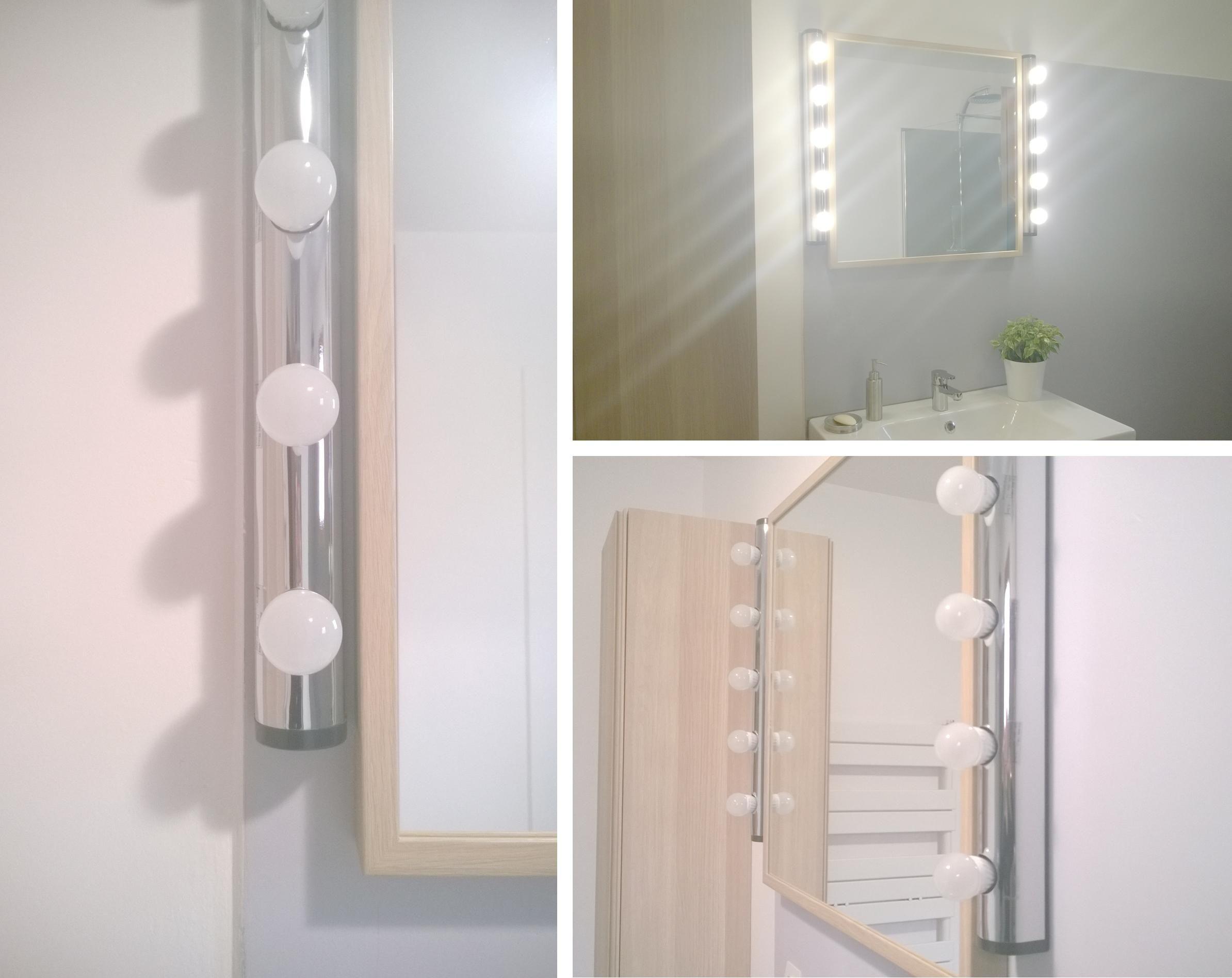 salle de bain r novation en gris blanc et bois luminaire loge leroy merlin sophie b. Black Bedroom Furniture Sets. Home Design Ideas