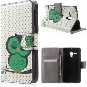 Gezien op Beslist.be: Alcatel One Touch POP D5 groene uil agenda wallet hoesje