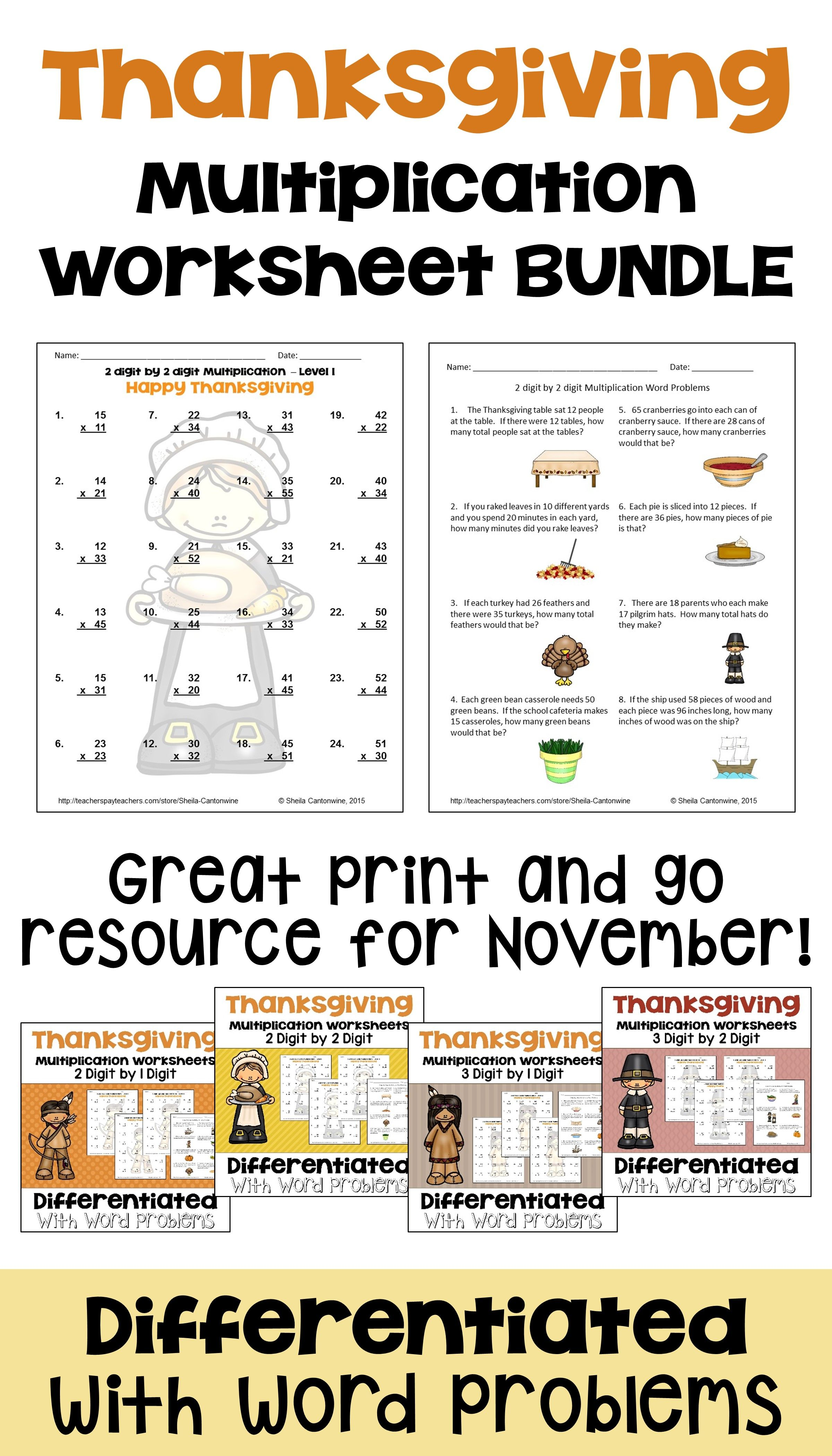 Thanksgiving Math Multiplication Worksheet Bundle With