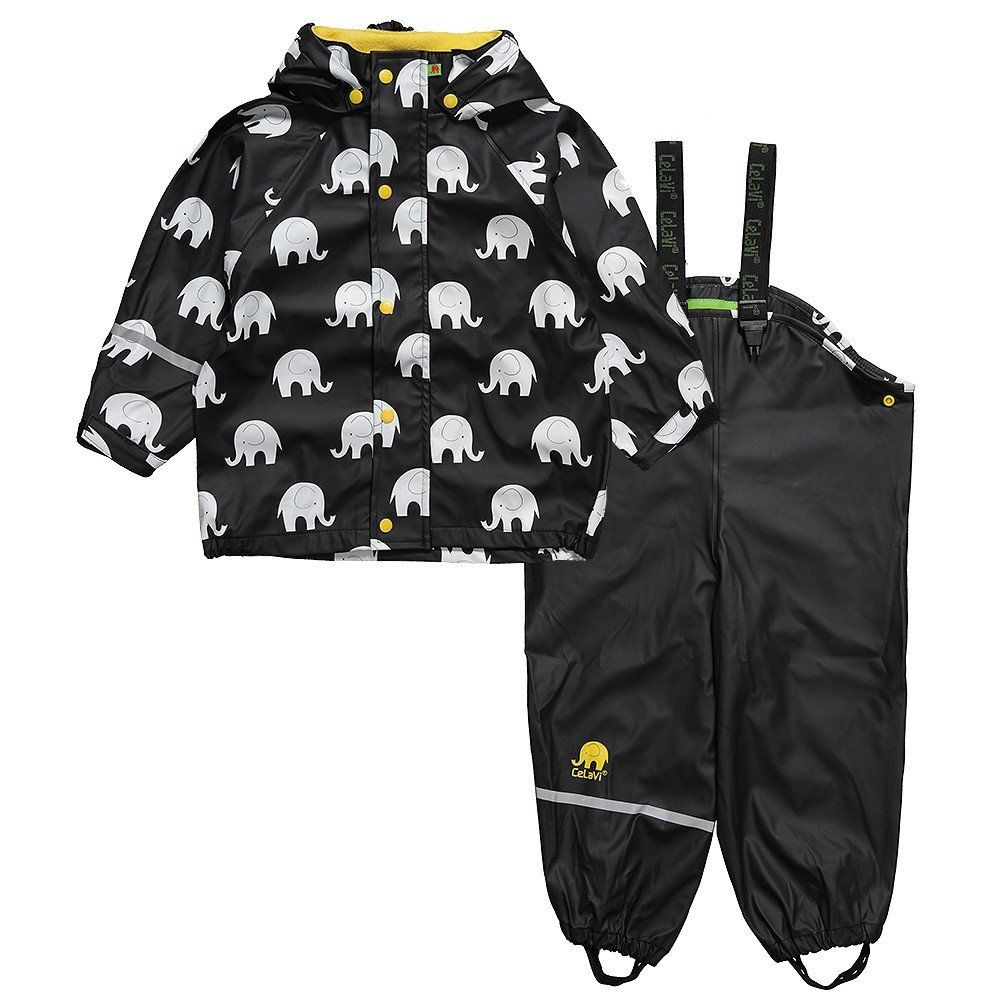 CeLaVi rain jacket and salopettes ELEPHANTS/BLACK