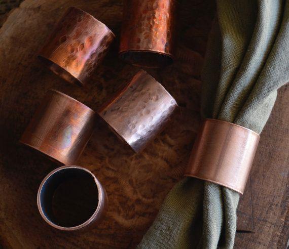 Kupfer serviettenringe glatt glatt gefeuert industrielle esszimmer tischplatte dekor - Einweihungsparty geschenk ...