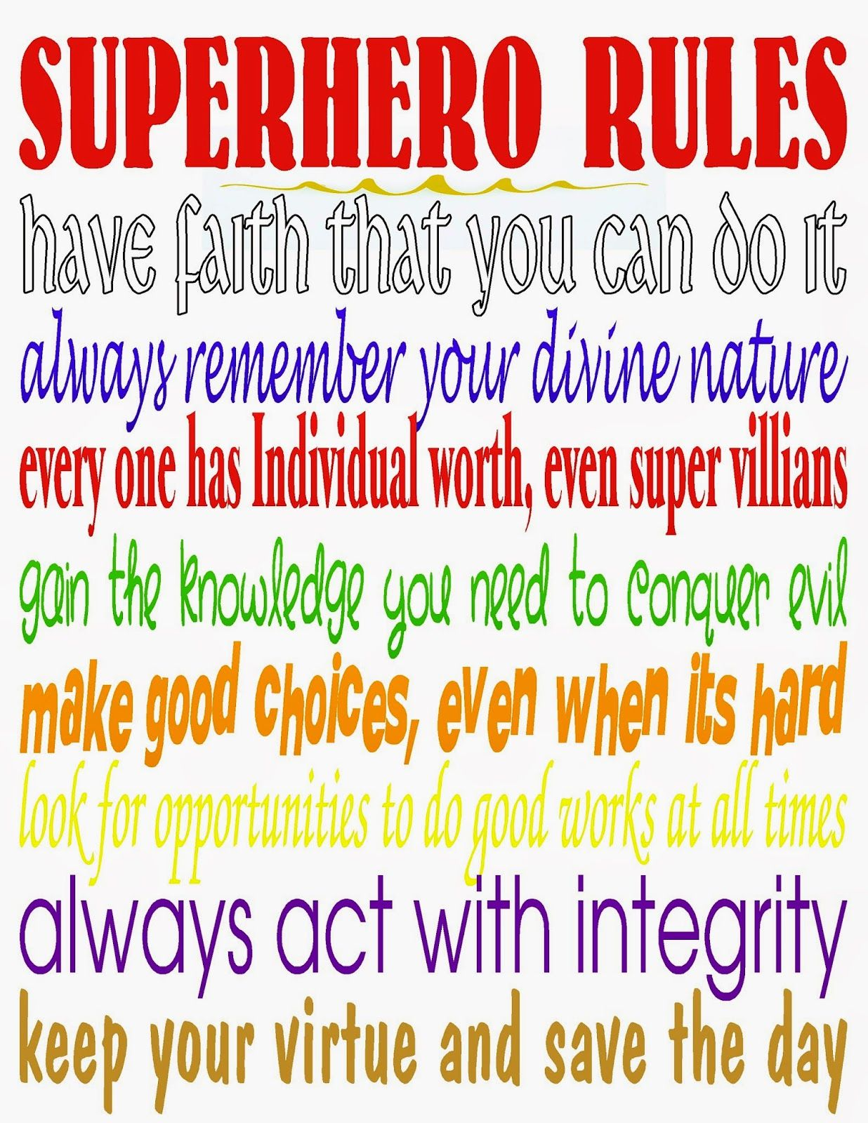 Superhero Rules Printable And Dare To Share Linky