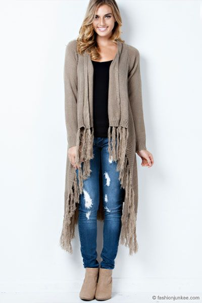 Extra Long Knit Crochet Fringe Cardigan Jacket-Taupe - DEAL OF THE ...