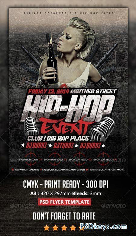 HipHop Flyer  Ss Flyer Club Dark Cool Stone  Flyer