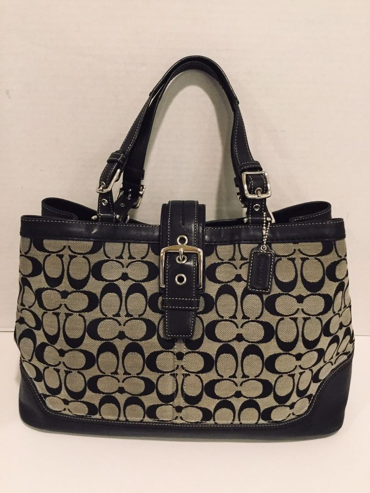 e1ec8886aedd COACH Classic Signature Handbag Satchel Black Gray Leather Canvas Large  Purse  Coach  Satchel