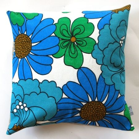 blå og grønn retro blomst putetrekk