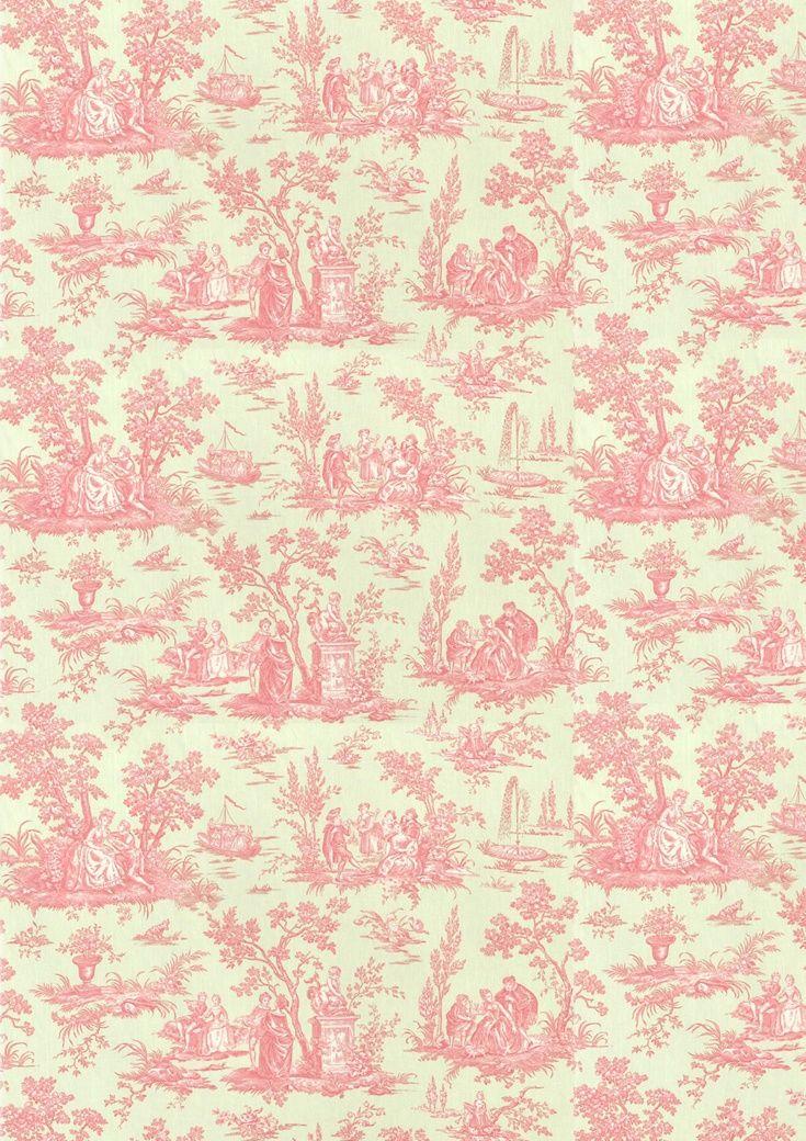 wallpaper pink & cream Pink toile wallpaper, Shabby