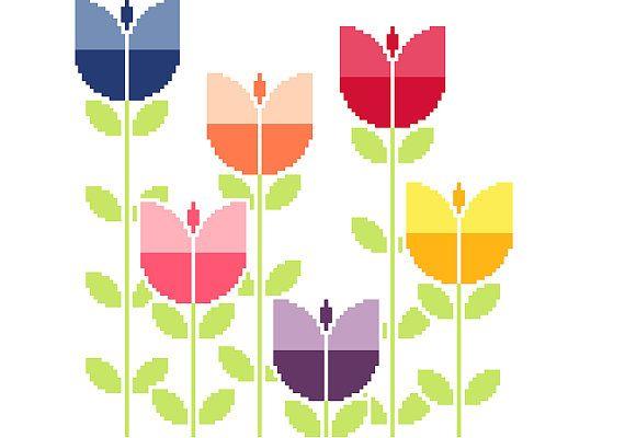 Modern cross stitch pattern. Field of retro by crossstitchtheline