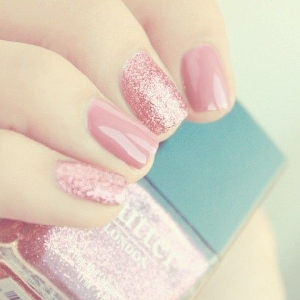 Pretty pink sparkly nail polish