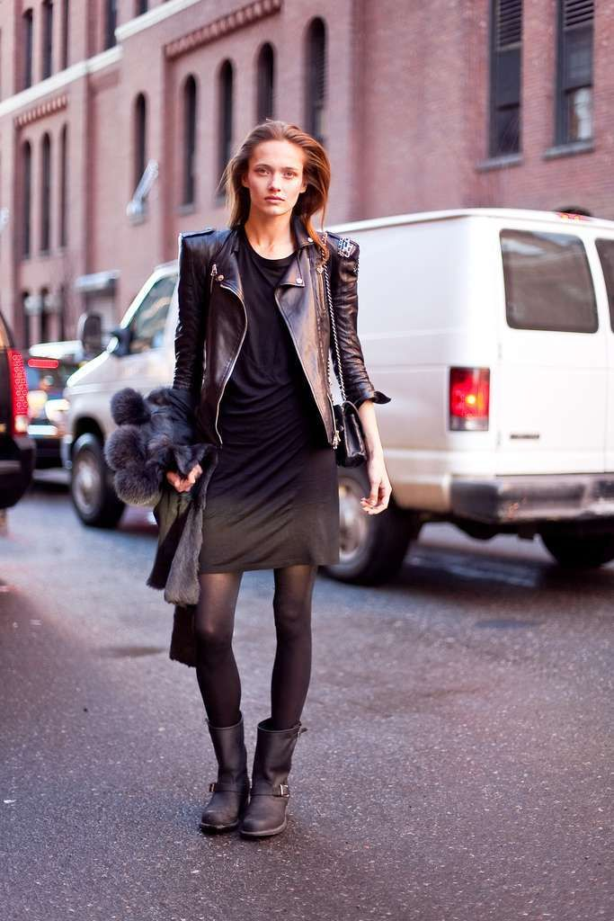 Come abbinare gli stivali Minidress e biker boot   Fall