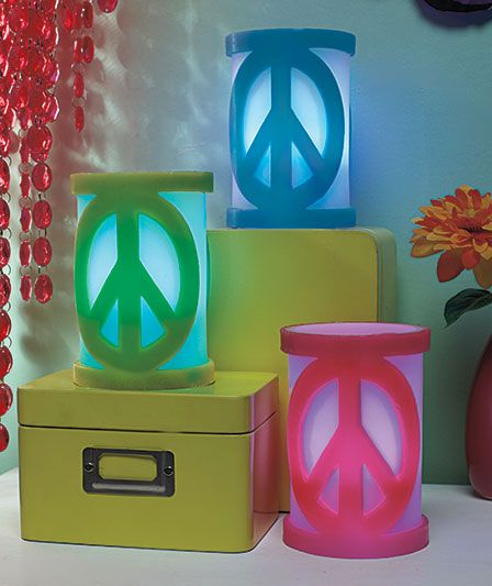 LED Peace Sign Candles Our Price  9 95 each. retro decorating   peace sign decorations   flower power teens