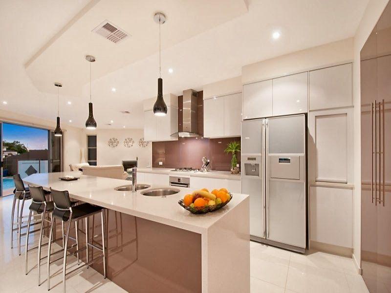 Cocina moderna con desayunador awesome interiors for Barras e islas para cocinas