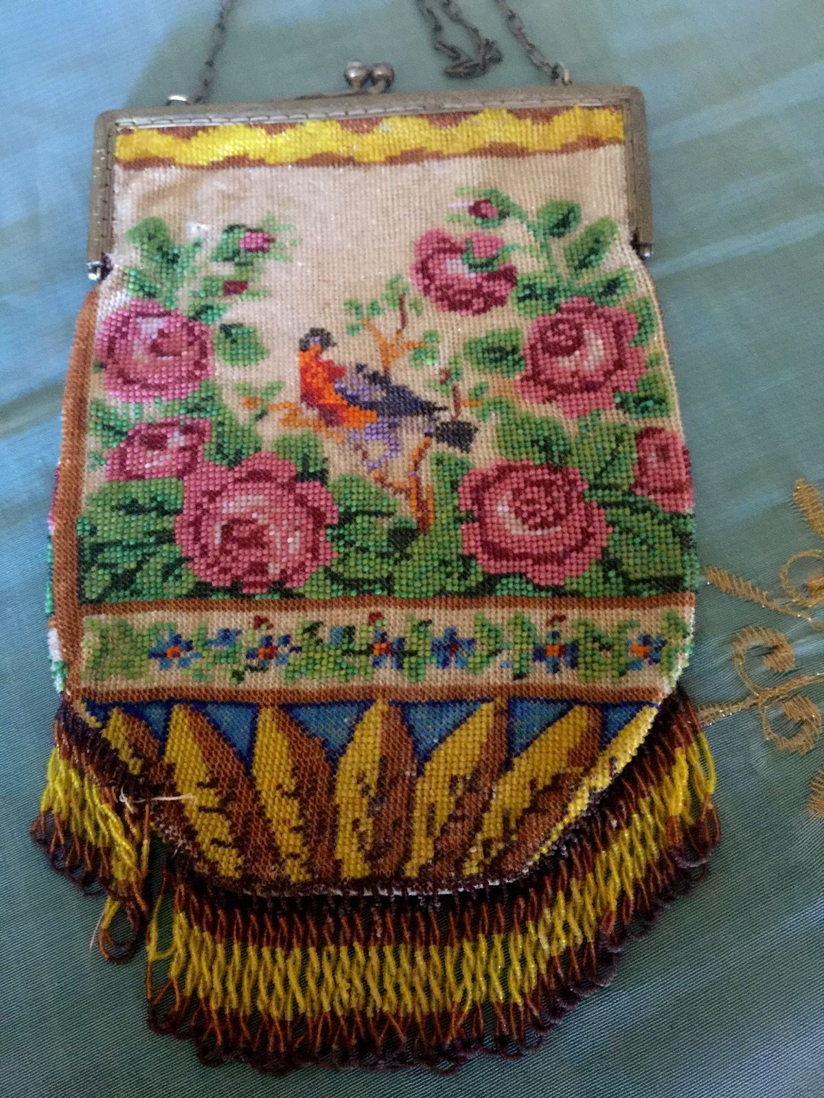 "Antique Art Nouveau Micro Beaded purse/bag 8.5""x 5"" - Bird & Roses & Geometric Leaves."