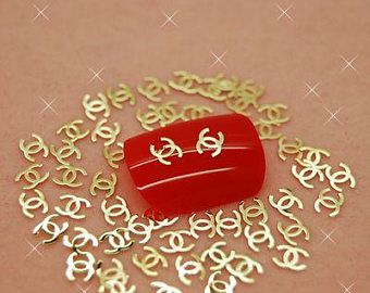 Gold Metal Double C Logo Nail Decals Art Decoration Stickers