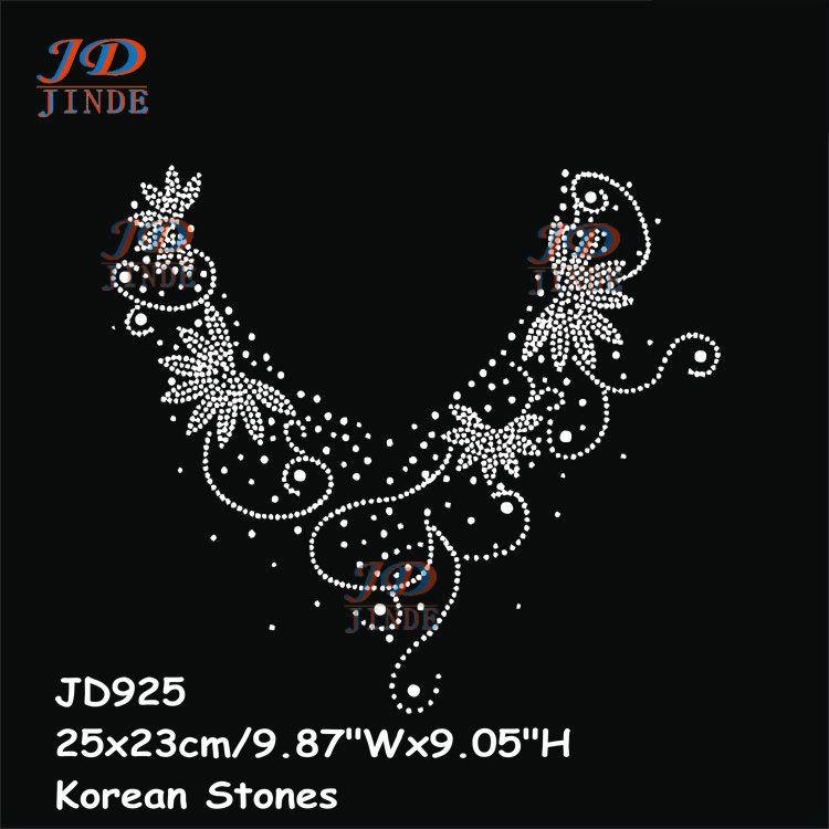 New Hotfix Rhinestone Iron On Heat Transfers Sticker Hot V-Neck Neckline  Pattern T-shirt Cashmere Accessories 68253bb9174b