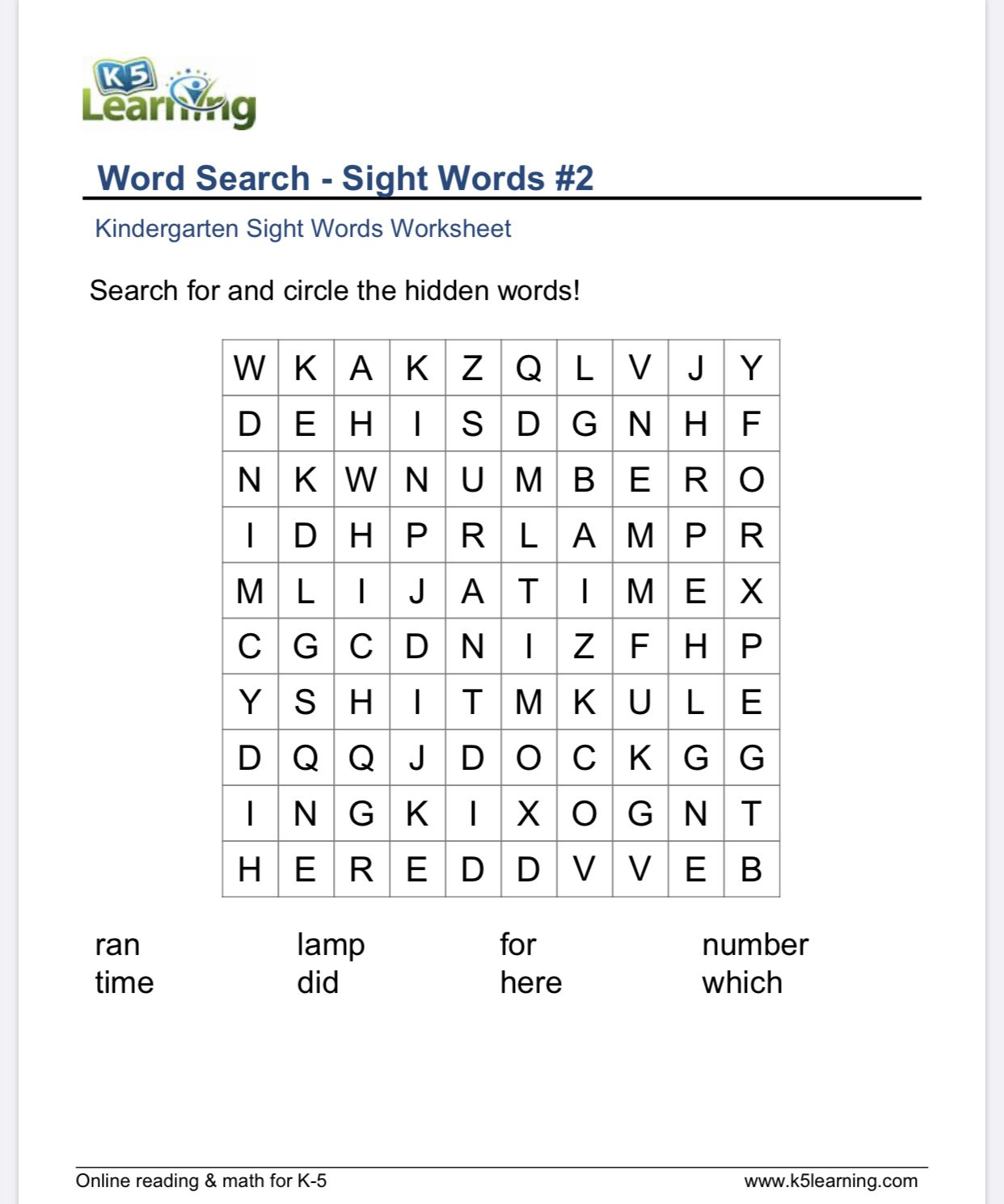 Sight Word Word Searches For Kindergarten