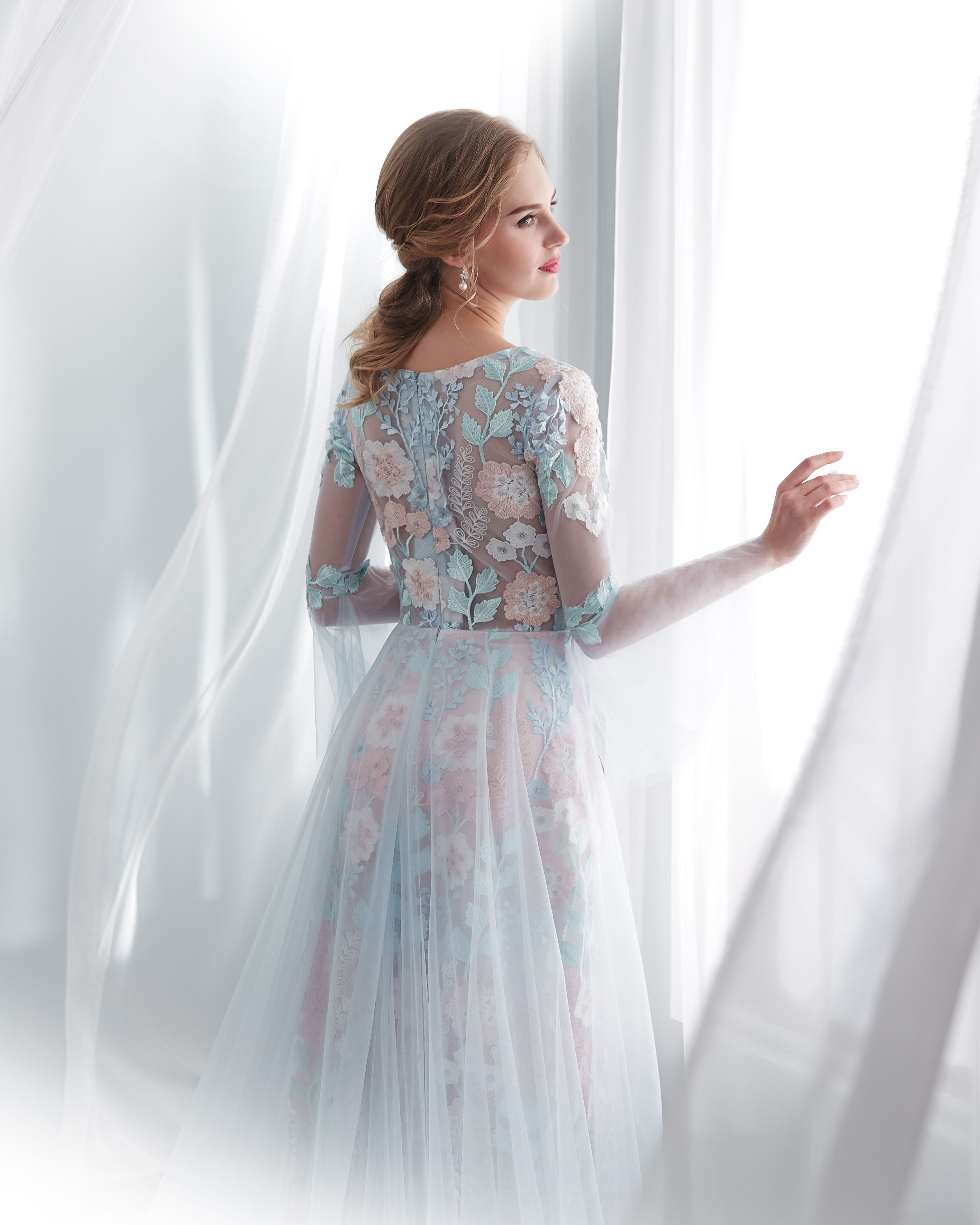 Bell sleeve light blue tulle long wedding dress with train