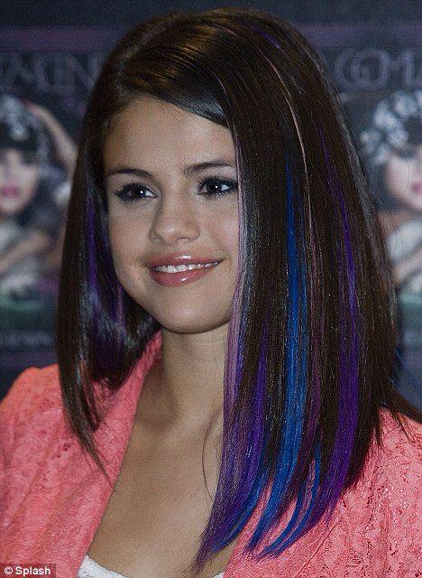 Selena Purple Blue Strips In Hair Hair Streaks Hair Color