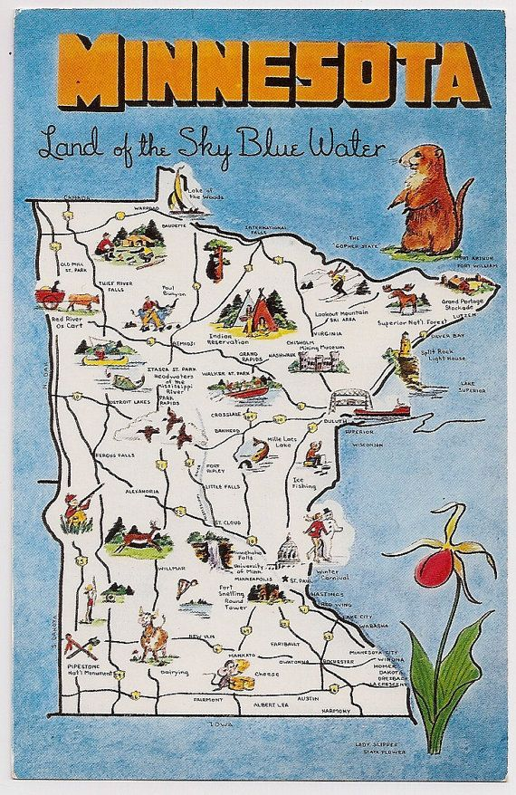 Retro Minnesota Tourist Map Souvenir Postcard Retro Postcards - Minnesota-in-us-map