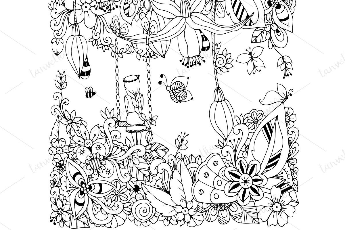 Doodle Girl On A Swing Flowers Doodle Girl Flower Art Drawing Doodle Drawings