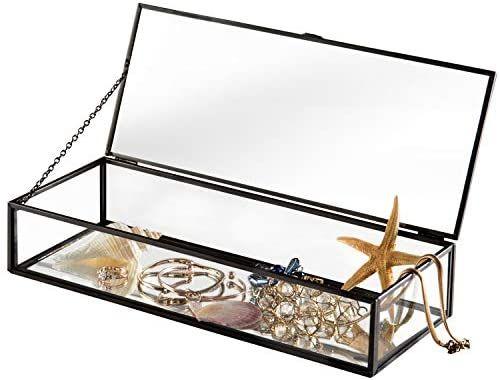 Amazon Com Vintage Style Brass Metal Clear Glass Mirrored Shadow Box Jewelry Display Case W Hinged T In 2020 Jewelry Display Case Jewelry Display Box Jewelry Mirror