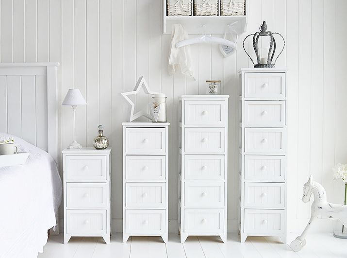 Maine Range of white bedroom storage furniture, different sizes of ...