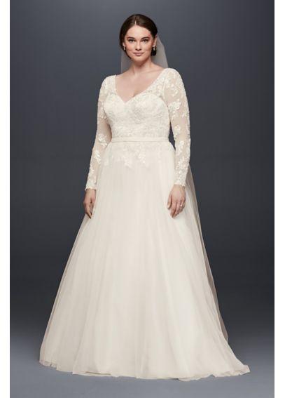 V Neck Long Sleeve Wedding Dress With Low Back David S Bridal Wedding Dress Trends Davids Bridal Wedding Dresses Wedding Dress Sleeves