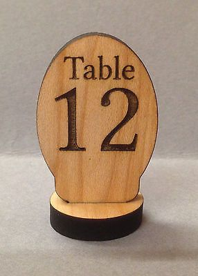 Table Number Signs Maple Wood Engraved Signs Oval Shape In Business - Restaurant table number signs
