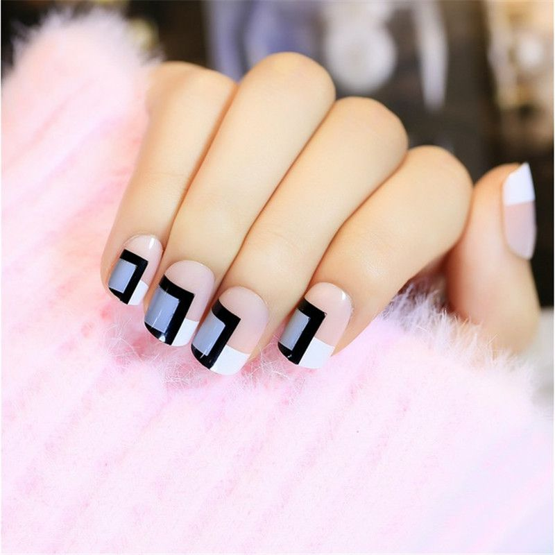 24 pcs/set Decorated False Nails Pre Design Acrylic Fake Nails Full ...